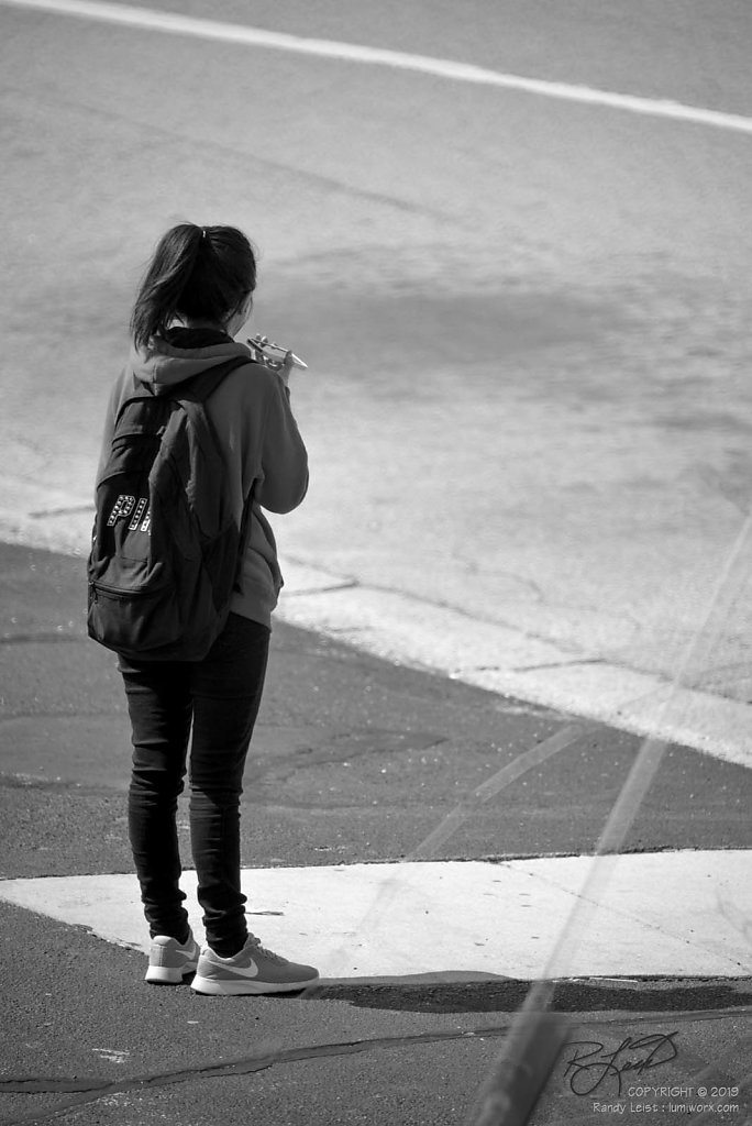 Bus Stop Phone Call - B&W