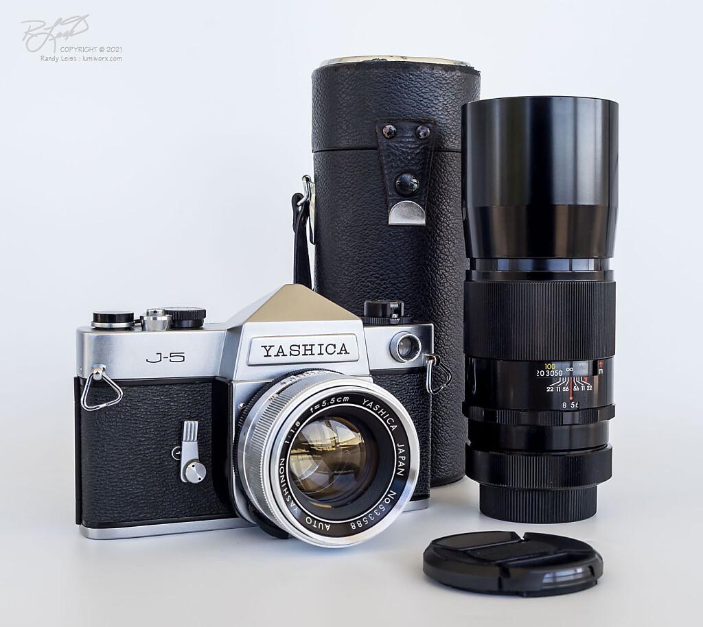Yashica J-5 w/ Auto Yashinon 5.5cm f/1.8 and DX 200mm f/4